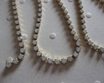 2mm White Opal Rhinestone Chain - Brass Setting - Preciosa Czech Crystals