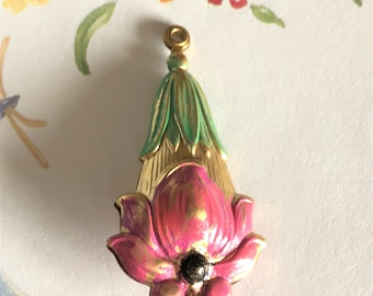 1 Double Sided Hand Painted Brass Flower Pendant 47x23x12mm NO.2B
