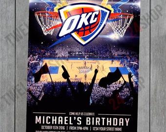 Oklahoma City Thunder Birthday Invitation - OKC Thunder Birthday Invitation
