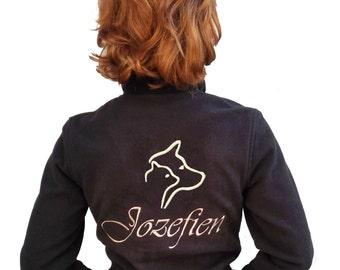 personalized animallover fleece vest, petshelter, animal love, doglover, catlover, dogshelter logo, petshelter logo, cat, dog silhouette