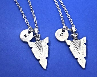 SET OF 2 Silver arrowhead, arrowhead necklace, arrowhead charm, Friendship jewelry, 2 necklace, silver arrowhead, matching set of 2
