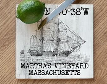 Custom Coordinates Vintage Ship Cutting Board, Latitude Longitude Cutting Board