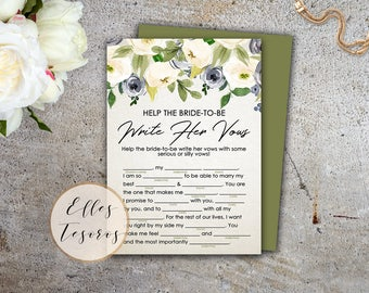 Write Her Vows Game White Flowers Bridal Shower Game Vows Game Couples Shower Games Green Romance Printable Digital Instant Download