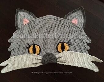 Crochet Cat Rug, cat rug, crochet rug, crochet area rug, children area rug