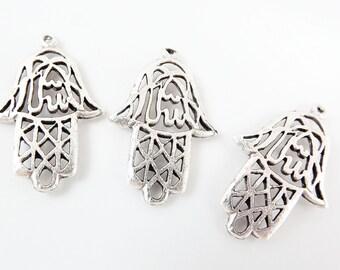 3 Rustic Fretwork Hand of Fatima Hamsa Pendant Charms - Matte Silver Plated