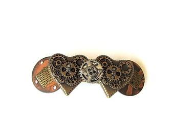 Gears and Hearts Steampunk Bronze Button Barrette