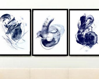 Set of 3 Prints, Navy Blue Abstract, Triptych,Abstract Art Prints, Printable Art, Wall Decor, Wall Art, Instant Download