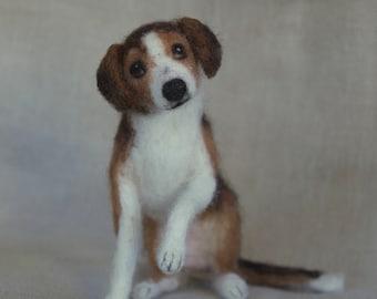 Needle Felted Beagle Dog, Wool Pet Portrait