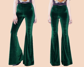 Emerald Green Velvet Bell Bottoms