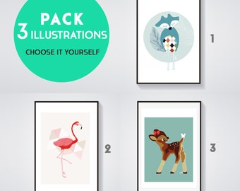 Pack of 3 Posters VINTAGE - Choose yourself 3 illustrations