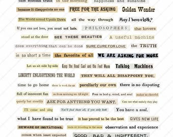 Digital Collage Sheet: Words & Phrases | Out of Context Volume 1
