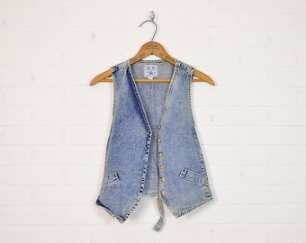 Vintage 80s Acid Wash Denim Vest Acid Wash Jean Vest Jean Jacket Denim Jacket Jean Shirt Denim Top Skinny Vest 90s Grunge Vest Blue S Small