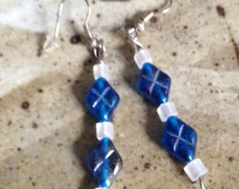 Blue and white glass bead earrings, one of a kind, handmade earrings