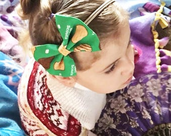 Girl Scouts Headband- Girl Scouts Bow; Girl Scouts Hair Bow; Girl Scouts Nylon Headbands; Girl Scouts Cookies; Nylon Headband; Bow Headband