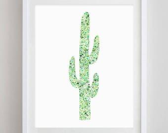 Cactus Floral Watercolor Art Print