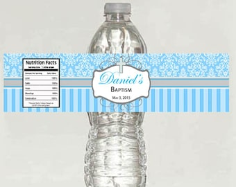 boy Personalized Custom Christening / Baptism Water Bottle Labels- Printable