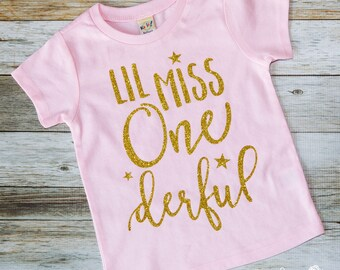 First Birthday - Girls First Birthday Shirt - Little Miss - Girls 1st Birthday Shirt - 1st Birthday, One-derful, Wonderful - Infant - One