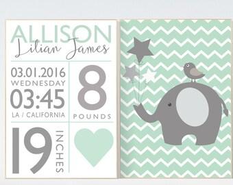 Baby birth stats, Mint nursery decor, elephant nursery, new baby gift, birth announcement, baby birth stats, nursery wall art baby name sign