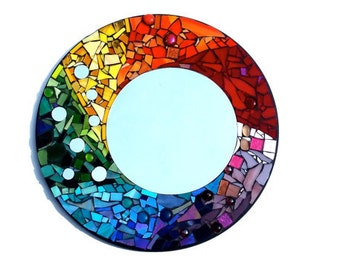 Custom Mosaic Round Mirror, One of a Kind Art, Made to Order Artwork, 12 in or 20 in Decor
