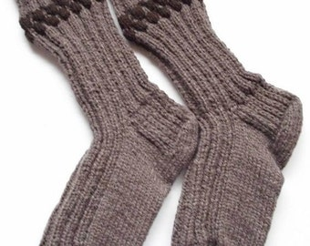 "Wool socks hand knit for men.Foot length 12 ""Length from cuff to heel 14 "".Over size boot socks .Boot liners. Reinforced heel .Ready to ship"
