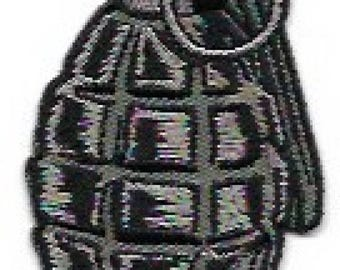 Hand Grenade Embroidered Patch / Iron On Applique