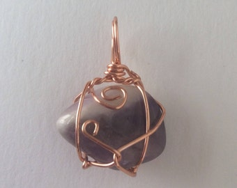 Amethyst Copper Wire Wrapped Pendant