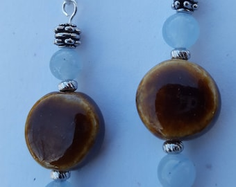 Brown ceramic bead earrings