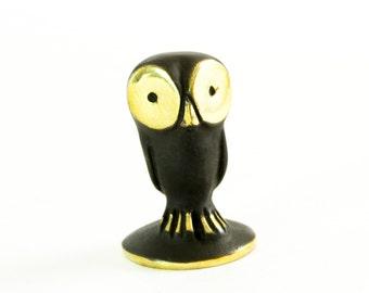 """Walter Bosse Owl - Brass """"Black Gold"""" Owlet Figurine — """"Eule"""""""