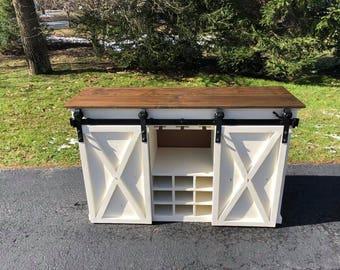 Sliding Barn Door Buffet Cabinet w/Wine Storage