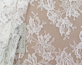 Offwhite Solstiss lace trimming, Chantilly Lace trim, Bridal lace trimming, French Lace, Wedding Lace, natural Lace, soft lace,  MB00140