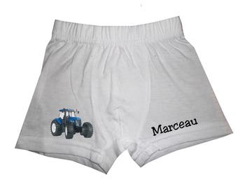 Boxer boy white blue tractor personalized with name
