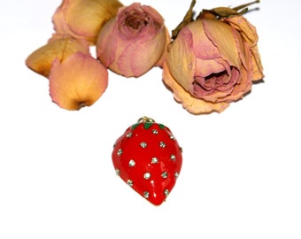 Fruit strawberry metal pendant gold plated 30 x 18 mm