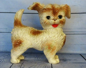 Edward Mobley Puppy, Woofie the Lovable Puppy, Plastic Squeek Dog, Arrow Rubber & Plastic Co., Blinking Eyes, Rubber Squeek Dog Toy