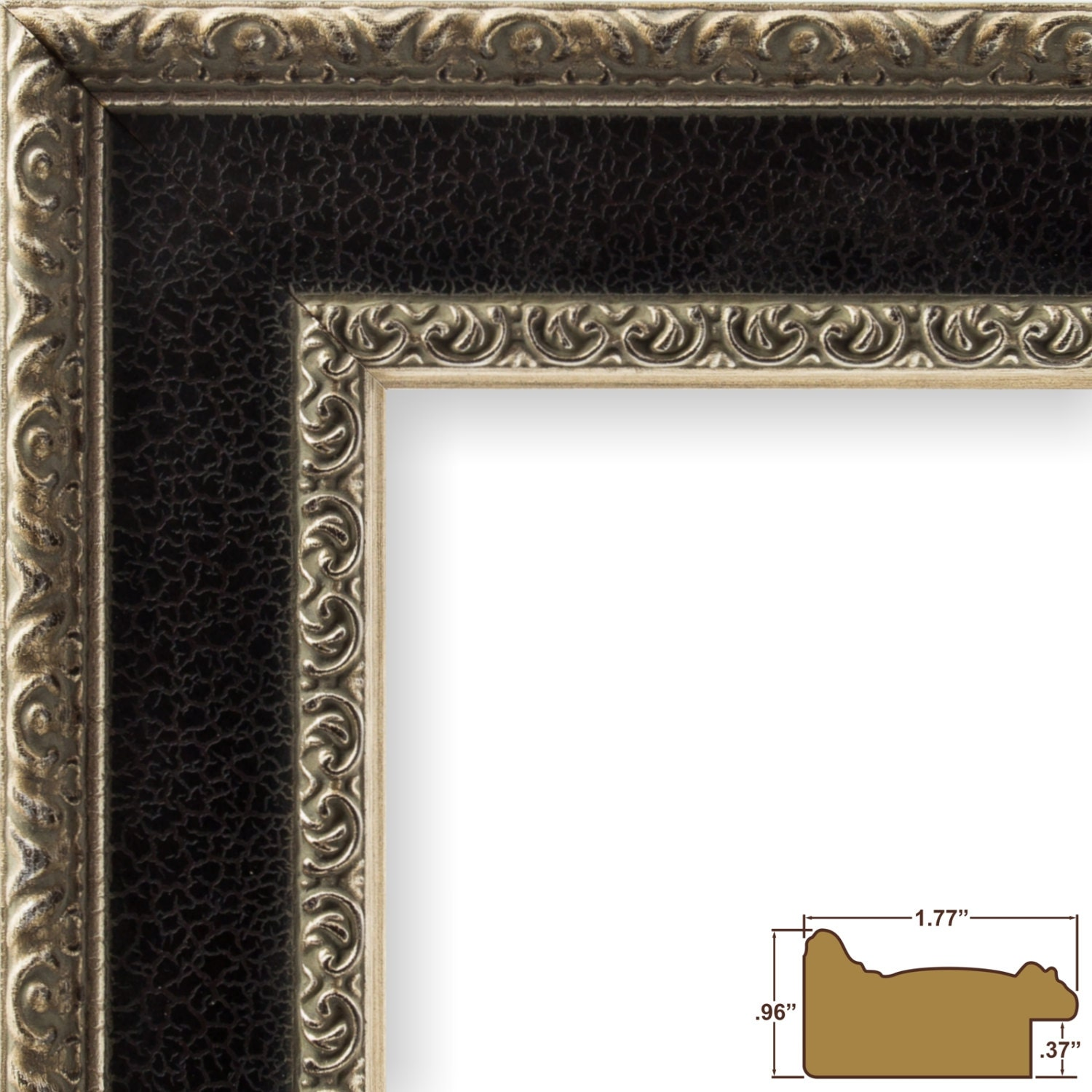 Craig Frames, 12x18 Inch Antique Silver and Black Picture Frame ...