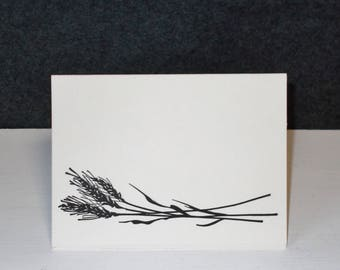 Thank You Cards Hand Stamped Sheaf of Wheat Grain Card Set of 5 Blank Greeting Card Set Ivory Card Stock