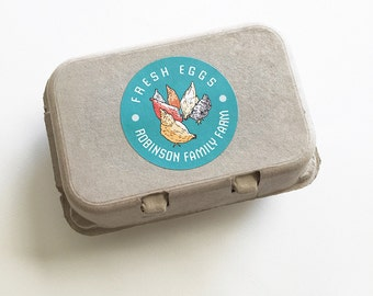 """Egg Carton Labels, Food Labels, 12 Chicken Stickers, Coop Supplies, Egg Packaging, Farm Market, Backyard Chickens, 2.5"""" Round"""