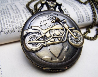 Locket Watch Necklace Vintage Inspired Neo Victorian Gift for Him Motorcycle Necklace