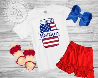 Mason Jar Personalized shirt for girls // 4th of July girls Shirt // Patriotic Kids Shirt // Red White and Blue shirts // USA shirt