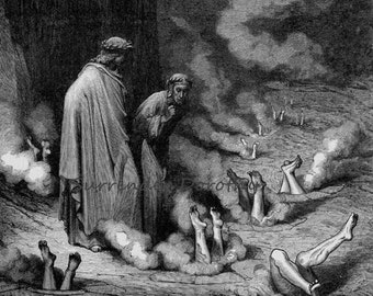 Dante Rebukes Pope Nicholas III Fourth Bolgia Inferno Canto 19 Gustave Dore' Gothic Vintage Engraving To Frame Hell Black & White