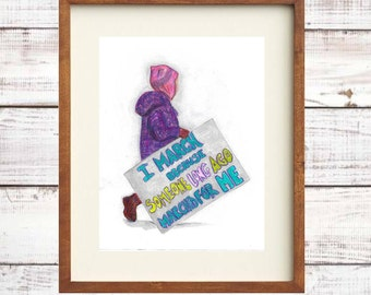 Women's Rights March Protest Girl with Sign - Feminist Activism Art Wall Decor - Digital Printable Download PDF JPG