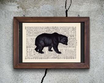 Printing - black bear - antique book page