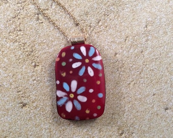 Hand painted flowers on fused glass pendant