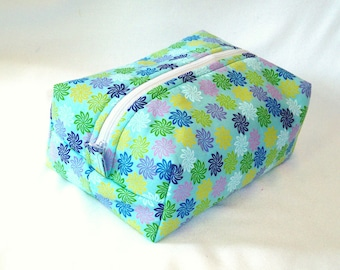Floral Makeup Bag, Boxy Bag, Cosmetic Bag, Zipper Pouch, Toiletry Bag, Blue, Flowers, Travel Bag, Purse Organizer