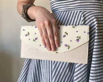 Ivory Faux Suede Alcantara Floral Cotton Flat Hard Body Clutch Bag Purse