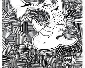 Shark Ray Bowmouth Guitarfish Digital Illustration, Black and White Print, Multiple Sizes Available
