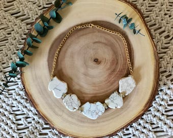 Statement White Turquoise Gold Crystal Chain Necklace