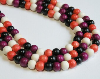 Halloween Mix wood beads round Red Green White Cheesewood 8mm eco-friendly full strand HMIX