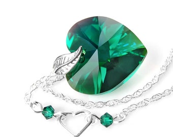 Emerald Heart Necklace Sterling Silver Necklace Swarovski Green Crystal Heart Necklace Emerald Green Heart Pendant Necklace Silver Chain
