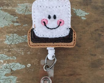 S'mores ID badge reel holder retractable clip