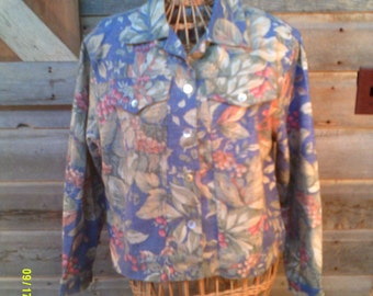 Woman's Vintage Cotton Floral Jacket, size SP (6 to 8), Made in USA by Norm Thompson, Summer Jackets S, Cotton Jacket S, Floral Jacket S